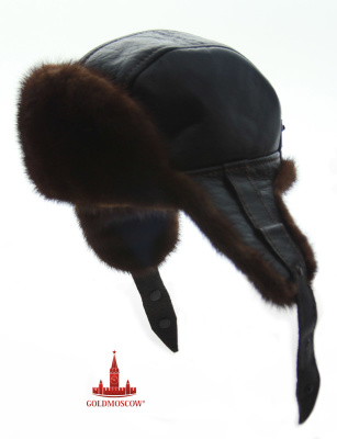 Mink fur hat leather  Fashionable and very stylish leather hat with ear flaps beautiful shades of brown - golden mink fur. The original cut shape hats, its softness and lightness make representations headdress friendly attributes of your winter clothing that does not require too careful storage, capable in all circumstances to retain its shape, sporty elegant style and warmth, preserving features. Hat can be worn as a frosty period of time so wet weather and low season. As resistance mink fur retains its exterior features 5 times more than the rabbit fur that allows the headgear over the years. Beauty and refinement mink low tide on a black background leather cap emphasizes the richness and elegance of one of the most valuable species of Russian fur.