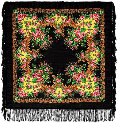 "Pavloposadskie handkerchief ""sunset""  Bright and elegantly decorated with contrasting black and golden tones of pink, pure wool shawl with saturated delicate floral pattern. Fine work decoration makes handkerchief visually elegant and ornate headdress. Contrast gold on a black background highlights the rich flavor delicate roses in grass green plant decoration. The author of the picture is one of the best-known artists pavloposadskie garter Manufactory Clara Zinoviev. The border is decorated with a black headscarf, long-fringed wool."