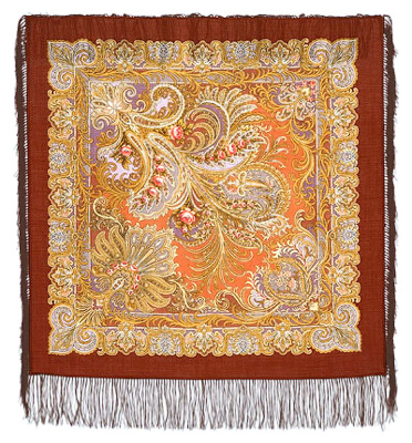 "Pavloposadskie handkerchief ""the blue sea""  Beautiful inexpensive woolen shawl pavloposadskie factory. Size 89h89 cm handkerchief. Fine delicate detail drawing saturated soft silvery-golden tones on a brown background with a pattern perfectly matches the frame ornament, located on the perimeter of the handkerchief. The author of the picture is Suharevskaya Tatiana. Framed by elegant silk scarf fringe gentle brown in harmony with the whole gamut of artistic background image. Warm woolen shawl can be purchased in the gift beautiful wooden casket."