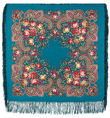 "Pavloposadskie handkerchief ""Stranger""  Beautiful shawl known pavloposadskie garter factory. Soft turquoise tones, resonates with quiet buketno-painted ornamental succulent buds gorgeous roses, subtly emphasize the tenderness and sincerity of artistic decoration of remarkable Russian shawl. The author of the drawing is a well-known artist pavloposadskie garter factory, Natalia Belokur. Framed by a thin silk scarf fringe to match the base color shawl."
