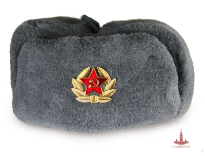 "Cap ear flaps ""Soldier""  The main winter headgear soldiers of the armed forces of the USSR and Russia. Warm practical hat, made of thick natural gray woolen cloth and polyester fur army consisting of 60% of sheepskin and 40% polyester. Due to this fur is very warm and resistant to rain and snow.  Available only even dimensions of caps from the 56th to the 60th."
