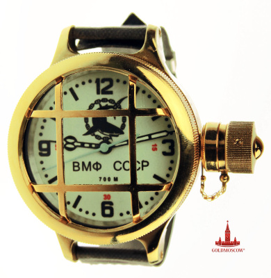 "Diving phosphor watch ""Gift""  The Gilded body of original diving watches with a luminous dial phosphor will be a great gift for a veteran naval forces of the USSR and Russia. Clock mechanism with central second hand assembled by 17 ruby ​​stones and has high amplitude accuracy of the clock pendulum balance. Energodinamichnost hours provides a full factory clock spring clock period of continuous work up to 39 hours. The watch has a complete gift box, certificate of conformity, a screw screwdriver, sealing ring, waterproof canvas belt with a special water-proof firmware. 24 mm belt width. Height of the watch case 24 mm. Case diameter of 58 mm. The back of the watch case is individually numbered limited edition and bas-relief image of the USSR submarine fleet."