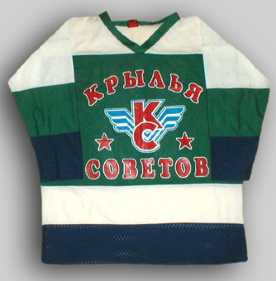 "Hockey Sweater ""Koroljuk""     T-shirt hockey with long sleeves, made of breathable   fabric containing polyester. T-shirt made in the colors of the Russian hockey team ""Wings of the Soviets."" In front with strong waterproof color thermal printing image executed team logo. T-Shirt ""Wings of Soviets"" is mandatory for fans of the team."