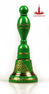 "Handbell with the handle ""Green""  Great spiritual gift in the form of the bronze bells of Valdai with wooden handle, decorated with a golden appliqué and covered with resistant gloss varnish. The height of the bell with a handle 12 cm. The diameter of the base of 45 mm. Given the associative feature of spiritual perception of the canons of Orthodoxy, the bell will be a good gift during the divination of Palm Sunday, the day of the Holy Trinity on Monday of the Holy Spirit. For the compilation of the two colors yellow and blue, symbolizing Christ in previous to the sky, forming a green color-color revival."