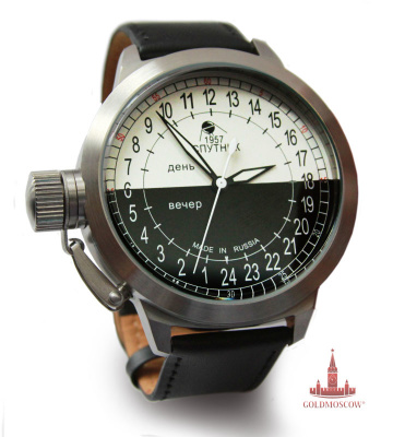 "Watches ""Sputnik-2""  Mechanical watches with automatic winding, collected on the mechanism of ""Vostok 2425"" with central second hand. The number of axial jewels 31.Chasy have a unique shock-balanced unit that provides the reliability and accuracy of the entire mechanism. The watch case is made of non-magnetic stainless steel with a durable polished finish. Shut-off safety device the crown ensures water resistance to 20 atmospheres pressure. Strap supplied to the clock, the skin is made of a water repellent treatment. The accuracy of the clock at an average temperature of 20 degrees is -20 ... + 60 seconds a day. If desired, the clock can be ordered in a gift box with a satin white silk lodgment. The cost of the box is from 300 to 500 rubles, depending on the decorative and constructive nature of the performance. The watch dial ""Sputnik 2"" is executed in a spectacular black and white style, emphasizing the distinction between light and dark time of day. Originality in the design of Roman numerals is that the initial countdown begins at the bottom of the dial, which allows daylight clock in the usual location of the sector day shooter. The watch is made in limited edition and are a unique and reliable gift connoisseur rarities Russian watchmaking."