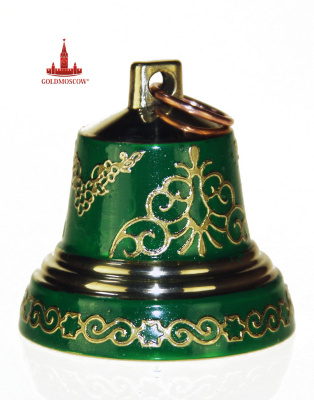 "Bell ""Emerald""  Valdai bell bronze in 4 sizes. High purity bells achieved the unique technology and preserve the traditions of the masters of ancient Russian architecture. Enamel, lacquer surface of the bell, followed potalnoy refinement, harmoniously creates a character sincere and original gift that can overflow their miraculous return from your gray everyday routine in the festive celebration clouds good mood. The height of the bell 52 mm base diameter of 43 mm."