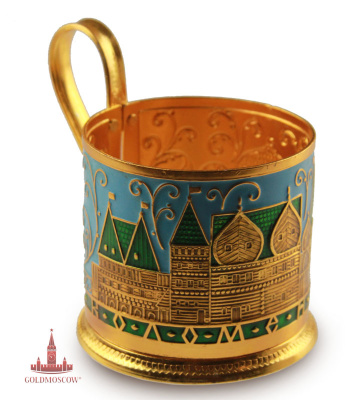 "Holder ""Kolomenskoye""  Great gift option cupholders, symbolizing the color of the rich history of the Russian state, its architectural features during the reign of Grand Prince Vasily III, exciting moment of formation and transformation of Russian principality into a powerful and great nation.  Aluminium holder, limited edition, has saturated circular image of the architectural ensemble of the ancient Kremlin fat Kolomenskoye. The golden anodized surface coasters, decorated with blue enamel filling with elements of emerald hues, impressively emphasizes the richness of the decoration of the beautiful object of the traditional Russian tea. Colour design can be added if desired customer delicate smooth tea cup with a delicate gold rim, emphasizing the perfection of artistic solution. Ruby golden tea is twice tastier in the hands of the owner of the rare book."