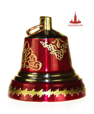 "Bell ""Ruby""  Beautiful bright celebratory bell made in Valdai. Material bronze. The surface of the treated bell transparent lacquer enamel, creating the effect of iridescent ruby glow. Decorative potalnaya completion adorns the magnificent bell ringing, delivering product festive and holiday mood of the gift. The diameter of the base of the bell 43 mm."