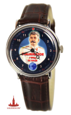 Watches «I will be back»  Beautiful mechanical wrist watch with blue dial, hands and stylish vintage portrait IV Stalin in the form of Marshal of the Soviet Union. White chrome body polished surface detail emphasizes the smooth lines of the old classic watch case, sample 40-ies of the Soviet period. The clock will be a perfect gift not only for World War II veterans, but also to any other person who appreciates honesty and versatility history of our country. Long leather belt with chrome buckle 25 cm diameter 38 mm watch case. The watch is attached laminated gift box red.