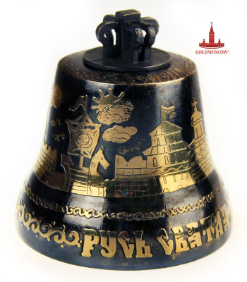 "Bell ""Keep the Orthodox faith""   Large bronze bell with a crown and proushnymi loops. The surface is decorated with a bas-relief figure bells in the ancient stylistic design with the inscription on the bell shaft ""Holy Rus, keep the Orthodox faith."" Bell has a strong clear voice low enough Nabatnaya character. The bell is cast from an alloy of copper and tin, with the addition of silver. At the moment, it is the largest bell, presented in the section of our online store. The height of the bell from the bottom to the top liquor 104 mm diameter shoulder 61 mm base diameter 100 mm."