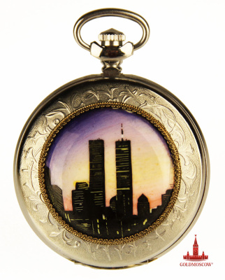 "Pocket watch ""WTC""   Commemorative pocket watch with two-sided enamel painted by Russian artists in solidarity and the memory of the day of mourning American people on 11 September 2001, when two Boeing crashed into the twin towers of the World Trade Center. Dark evening background covers two steel skyscrapers, symbolizing the tragedy of upcoming events that killed more than three thousand four hundred innocent victims in New York.  A pocket watch manufacturing plant ""Lightning"" have a height accuracy of the clock mechanism, collected on 15 ruby ​​jewels, based sozlano unique pendulum device with high udorozaschischennostyu. The duration of the stroke when fully wound pendulum spring is a period of not less than 39 hours. Lifetime hours not less than 10 years."