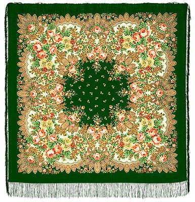 "Pavloposadskie shawl ""Lilac Blossoms""  Bright original pure wool scarf large pavloposadskie 146h146 cm. Saturated green and grassy tones of the background basics perfectly harmoniously beautiful flower-filled with an ornamental pattern, give the perception of a great refreshing artistic mood all decorative compositions. The author of the drawing is a skilled master - the artist pavloposadskie manufactory Clara Zinoviev. Scarf is a great gift woman birthday or another wonderful holiday."