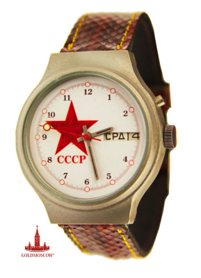 "Watch ""Star of the USSR"" Watch ""Star of the USSR"" (1)  A great sample of spectacular and stylish watches known in the Soviet period its innovation and originality of the 2nd Moscow Watch Factory ""Glory."" Grey titaniated anti-magnetic body remarkably emphasizes the contrast of white dial and red star with the inscription USSR. The watch has a double instant calendar with the designation of the day of the week and the number of polished glass and sapphire. Bright red second hand is constructed in such a way that due fosforitsidnoy circle at the end of the arrow she could clearly and easily visualized reflect timed readings. The watch has a very high degree of accuracy of the clock mechanism, assembled by 25 ruby stones have a 40 hour duration energodinamichnosti at one fully wound clock spring. The diameter of the watch is 37 mm, 9 mm, long leather strap with 24 cm hours."