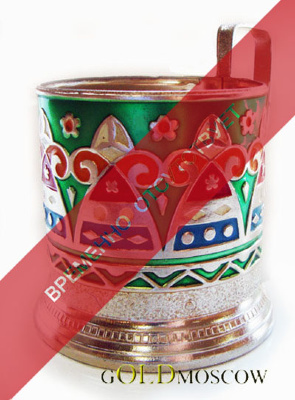 "Holder ""Runaround""   The beautiful aluminum holder with multicolored enamel filling. High comfortable handle, rich ornamental   execution. A great gift for lovers of traditional Russian tea and admirer of folklore. Holder looks spectacular with crystal carved tea cup."