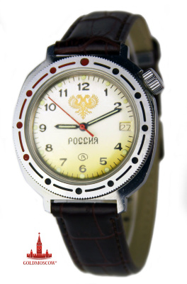 "Watches Gift commander ""Russia""  The original gift waterproof mechanical watches for men in chromed leather strap. Clock mechanism with instantaneous calendar device is assembled on the basis of non-magnetic brass frames with 17 jewels. The original location of the waterproof cap clockwise winding head allows more comfortable to wear the watch on the wrist rather broad hands. The original execution time node balance ensures the reliability and accuracy of the clock mechanism, assembled at 70% by hand craftsmen famous Russian company ""East"", whose products are well known outside Russia. The kit is attached to the watch leather belt with a total length, together with the body clock 23 cm. And a gift box in lacquered micro corrugated cardboard red. The diameter of the watch case 39 mm."