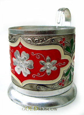 "Holder ""Wedding""  A rare aluminum holder with colored enamel filling pattern, decorated in a floral tie, stylized oriental ornamental decor. Extra wide handle is securely fixed to the body cupholders, wide foot ring, all, of course, it highlights the unique combination of fine art solutions and execution of merit beautiful everyday products. A great gift for a woman, appreciating the beauty and harmony of floral charm."
