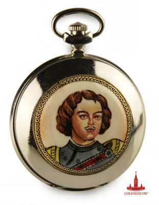 "Pocket watch ""Peter I»  Buy Pocket Watch ""Lightning"" is possible in a gift box made specifically for hours with a deep round lodgment and place lock pocket chain. On the watch securely fastened ceramic medallion on it a miniature portrait of Peter I Romanov, born May 30, 1672 and the last king of the senior and All Russia, the first Emperor of the Russian Empire.  Pocket Watch will be a great gift for the lover of bright and rich history of the Russian state, whose prosperity and power formed such talented and determined representatives of Russia, Peter the Great as one.  The kit further includes a pocket watch metal waist chain, nickel plated, length 35 cm., Passport and original packaging. When ordering separately gift box you will need to indicate their intention in the comments when ordering. The cost of the gift box is 320 rubles."