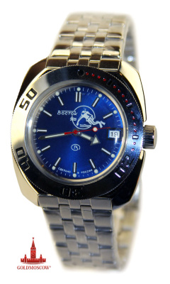 "Watch ""Amphibia-diver""  Excellent gift watch for man enjoys scuba diving and professional diving operations. Conciseness and classicism design aesthetic appearance beautiful iridescent dial makes the watch spectacular and stylish wrist chronometer. The watch has a calendar device instant action with functionally spectacular viewing window. Clock mechanism, assembled on the basis of non-magnetic frame and has a complex structure of high-precision automatic winding watch is assembled on 31 jewels. The clock, as well as the stigma of numerals, have an additional luminous fill, which provides ease of use for hours in the dark. Packed in a gift box factory hour. When wearing the watch for 8 hours, the hinge mechanism automatically starts the clock spring on the daily period of further work. Term Energodynamic reserve when fully wound the clock spring is a period of not less than 39 hours. The diameter of the watch in its smallest linear dimension of 42 mm., Thickness of the shell, with the waterproof glass reinforced, is 15 mm. The clock will be a perfect gift not only for collectors of original domestic chronometers, but also for the person whose occupation related work in humid or dusty environments aggressively. The service life of the movement is the period of not less than 10 years."