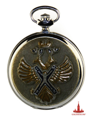 "Pocket Watch ""Order of St. Andrew""  Rare collectible pocket watches ""Lightning"", dedicated to the highest award of the Russian Federation to the Order of St. Andrew. Peter I established the Order of August 30, 1698 and is the only order of the Russian Empire. Knight of the Order became the first diplomat Fedor Golovin in 1699.  The signs of the Order of St. Andrew consisted of sign-cross, the main image which Saint Andrew was crucified, according to tradition, on the cross X-shaped configuration and a silver star with eight beam placed in its central medallion motto of the Order ""For faith and faithfulness."" Badge of the Order worn on a wide blue ribbon over his right shoulder, and the star was placed on the left side of the chest. In special occasions badge of the Order worn on the breast covered with colored enamels curly golden chain. Only one of the Russian orders, which had a chain. C 1998 Order restored as the highest award of the Russian Federation.  The original nickel-plated pocket watch with chain can be given not only to Andrew, but also to anyone who is truly worthy of the words ""For Faith and Loyalty»."