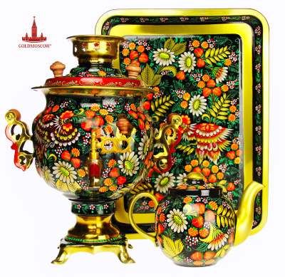 "Samovar set of ""Happy""  The elegant, brightly decorated with a set of electric samovar painted the author's artistic painting with a rich vegetable and decorative ornament. Volume samovar of 3 liters. Form Tula electric samovar made in the form of an acorn with openwork handles wide. Porcelain teapot, 400 ml., Excellent brew you a sweet fragrant tea flavors filling the memories of a pleasant summer home drinking tea. Height 34 cm samovar. Samovar set is packaged in a beautiful box of samovar micro corrugated cardboard with a picture of Russian models of electric samovars in Tula."