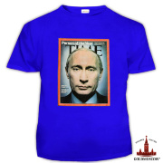T-shirt with Putin «Putin Time» Blue