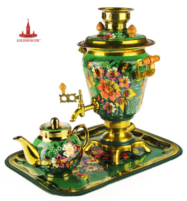 "Samovar ""Summer""  Electric samovar in the form of a classic longitudinal glasses complete with a tray and a large porcelain teapot. Bright decorative painting samovar set makes it a subject of great features festive feast, giving lovers of the traditions of Russian tea, not only taste wonderful bouquet of pleasure, but also aesthetically bringing in the tea ceremony mood bright sun of summer. Volume of 2.8 liters samovar, height 35 cm."