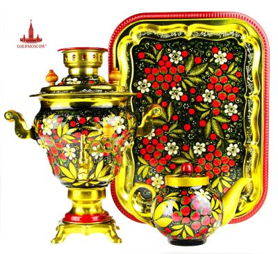 "Samovar ""Strawberry""  A beautiful samovar set consisting of a tray with a hard-edged figure, large porcelain tea samovar and direct the new electric samovar rare old forms of ""blowing"". Samovar set painted in a single color with the image of bouquet of wild strawberries on black and golden background, contrast emphasizes the author's original decoration. Height 32 cm samovar volume of 2.8 liters. The heating element, 1 kW fast enough for 15-18 minutes, heats the water to boiling point, and allows you to cook a wonderful fragrant tea drink, combined with homemade strawberry jam which with its unique aroma reminds you of the beautiful summer time."