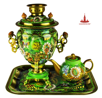 "Samovar ""Sunny""  Great Gift samovar set consisting of Tula electric samovar in the form of an acorn complete with a rectangular tray and a large porcelain teapot. All samovar set painted in a single ornamental style with the advantage of soft grass and golden hues of colors. Samovar height 35 cm, volume 3 liters, power kW heating element 1, while the full volume of boiling water for 15-20 minutes. Samovar set you can buy in our online store in the free gift box made from laminated micro corrugated cardboard specifically for electric Tula samovar."