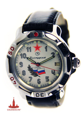 "Watch commander ""Russian flag""  Watch commander with the calendar mechanical, Shock resistant balance, waterproof antimagnetic chrome housing. Water-resistant to 20 m. Average daily rate at a temperature of 20 ± 5 ° C in the range of 20 to 40 / day. Totally wound watches run not less than 33 hours. Average term of service - 10 years. Watches are equipped with a leather strap and a gift box in lacquered micro corrugated cardboard red."