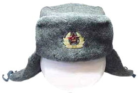 "Hat ""Soldier""  The main winter headgear soldiers of the armed forces of the USSR and Russia. Warm practical hat, made of thick natural gray woolen cloth and polyester fur army consisting of 60% of sheepskin and 40% polyester. Due to this fur is very warm and resistant to rain and snow.  Available only even dimensions of caps from 56 th to 62 th."