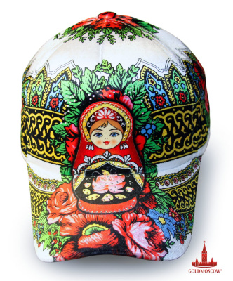 "White baseball cap ""Matryoshka""  Elegant and spectacularly bright female baseball cap made in rich colorful floral tones with colorful decorative elements of national execution elements headdress in the form of a beautiful classical Russian nesting dolls. Baseball is a great gift not only for Russian ladies, but also great for gifts from Russia."