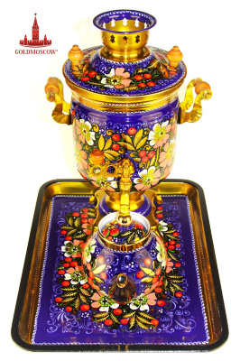 "Samovar ""Rowan bouquet""  The Tula samovar electric classical straight cylindrical shape ""the bank."" The author emphasizes the great decorative painting decorative floral ornamental decoration pattern on a dark purple with a gold background. The scope of the samovar in a single color painted porcelain teapot and a large, rectangular tray with hard crimped edge. Volume samovar of 3 liters. The boiling 15-18 minutes. Height 35 cm samovar."