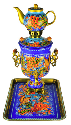 "Samovar set of ""Ash""  Beautiful bright gift samovar set in the package which consists of a metal tray samovar rectangular porcelain teapot and electric samovar classical form of ""bank"" with delicate Byzantine handles stylized butterfly wings. Easy and delicious author's painting samovar set emphasizes the solemn celebration of the artist's attitude to the decorative design of a tea set. Samovar set will be a great decoration of the grand feast, bringing its owners a sense of beauty delight old Russian tea ceremony. Samovar height 35 cm, volume 3 liters, power 1.0 kW heating element capable samovar heated to reflux temperature for less than 20 minutes. Enjoy the beauty and fragrance of mental attitude pleasant friendly feast, the center of which will be a great Russian samovar."