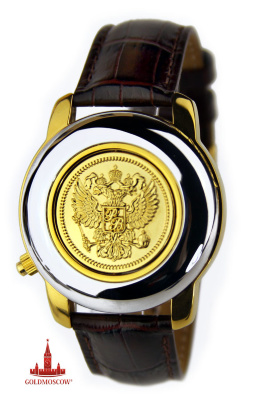 "Watches opercular ""President""  The original quartz watch with gilded decorative plate on the protective front cover in the form of the Russian double-headed eagle. Polished chrome body with gold-plated fragmented effectively emphasizes style and unusual wrist chronometer. White mother of pearl dial, beautifully decorated in gold sector stamps, in harmony with the golden arms of Russia and the inscription ""President"" in gradational arrangement gold cone clockwise. Clock mechanism with instantaneous calendar device has a high precision and remarkable features shockproof and antimagnetic protection. Watches are equipped with a gift box of lacquered red micro corrugated cardboard, warranty certificate and a beautiful leather belt with excellent tactile and wear-resistant features. Medallion protective  front cover , stylistically made in the form of gold obverse side of the king's gold pieces, has a special the axis of rotation, by which it can be deployed along the axis to change the appearance of your watch. Limited edition watches this puts it into the category of rare original collectible gift-wrist chronometer. The diameter of the watch case 41 mm shell thickness of 22 mm. The length of the leather strap with the watch case 230 mm. If necessary, the clock can be ordered in a wooden gift box or molded, are listed separately in the comments to the order. The cost of a wooden box, in the form of a stylized brushed mahogany with a special soft lodgment 860 rubles, the cost of the molded boxes, decorated with a white carbon 420 rubles."