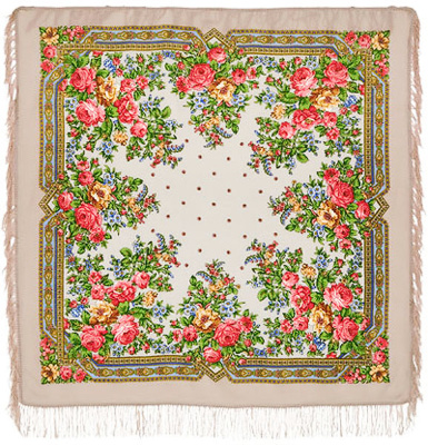 "Pavloposadskie shawl ""Pavlovsk Rose""  pure wool scarf pavloposadskie in bright colors with bright flower garlands, consisting of juicy scarlet and gold roses and blue wildflowers framed beautifully detailed ornamentation. The author of the drawing is a well-known artist pavloposadskie garter Manufactory Zinoviev Clara. Size headscarf 125x125 cm. The edge light woolen shawl processed fringed with soft and gentle tactile properties. Scarf will be a great gift for the connoisseur of elegance and beauty of the traditional Russian dress."
