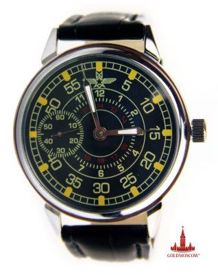 "Wristwatches ""Aircraft""  Rare flight collectible gift clock in the original version in the form of a stylized vintage Soviet pilot and navigational hours. The watch case is made of non-magnetic material and covered with resistant electroplated chrome. The clock mechanism is made on a unique device node shockproof balance Ural Watch Factory ""Lightning"" and highly accurate stroke. Contrasting black dial reflects tachometer scale lateral stopwatch and digital gradation hourly values. Energodinamichnost work clockwork, when fully wound spring is a period of not less than 39 hours. Natural polished glass with high transparency. The diameter of dust and moisture protection of the watch 47 mm., 12 mm shell thickness. Hours will be a great gift for collectors of rare watches thematic hours devoted to Russian aviators."