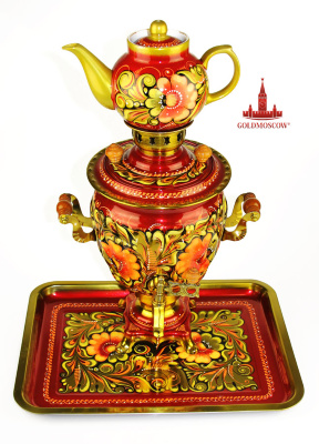 "Samovar set of ""Kudrin's""  For the painting by a very peculiar background detailed elaboration of ornaments - at work in a variety of background paintings, like Kudrin, development of the ornament at the first stage of painting is virtually nonexistent. The main feature that distinguishes Kudrin - it is an abundance of gold. Painting under the background begins with a general outline guidance ornament. Then pick out the leaves and flowers of developing their parts - veins, stamens, etc. When the main features of the circuit is ready, paint over the background. The application of small elements can be made on the background. These elements are called postscripts. It may be small flowers and leaves, berries, as well as combinations of these elements, for example, a thin mustache berries with groups around them. Feature Kudrina painting is that the elements are located closely saturated. So paint over the background as soon as the circuit was imposed. Sometimes Outline Draws a color that contrasts with the color of the contour. This is done in order to make the drawing more diverse. Height 35 cm samovar. Power of 1 kW heating element."