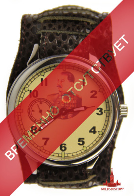 "Wristwatches ""Stalin""  It is enough rare large wristwatch with a glass back cover of the watch with the image of IV Stalin. The watch case has a diameter of 50 mm and a thickness of 12.5 mm. Watches are equipped with a wide wrist strap makes it comfortable to wear timepiece on your arm. The style of execution clock stresses the continuity of pre-war vintage watch the first half of the XX century. Vintage clock mechanism made in the Soviet military factory « Lightning » and assembled by 15 axial ruby stones, the quality of which is recognized not only in Russia but throughout the world, where the clock value of Soviet production."
