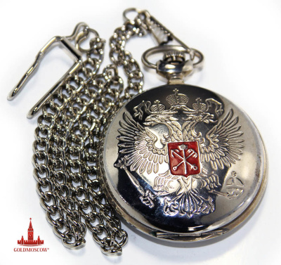 "Watch ""Coat of arms of St. Petersburg""  Beautiful gift pocket watch with a picture of the Russian double-headed eagle and coat of arms of St. Petersburg. White chrome body with two protective caps allows the clock in any climatic conditions. The high accuracy of the clock, the famous producer of the Urals ""Lightning"", provides a reliable anti-shock clockwork, assembled on the axle 17 ruby ​​jewels. For pocket watch attached additionally strong steel chain, chrome coating having a reliable carbine bolt and steel snap ring to lock the chain in his lapel vest or jacket or belt strap or trousers. Great gift for the person who loves the beautiful city on the Neva River."