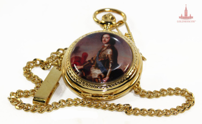 "Watch ""Peter the Great""  A pocket watch with quartz fine timing device. The watch case is made in the style of a beautiful gilded vintage luxury watches with an insert enamel plate with the image of Peter I. The perfect gift for the connoisseur of spectacular pocket watches, the use of which will give a vivid impression of each contact with them. Skillfully made elements of the case, the crown elegant, simple, but that further decorating clock dial with large Arabic numerals and the image of the imperial double-headed eagle era of the XVIII century, a beautiful gift box, made in the style of old packages expensive gift hour gold case, all that's great represents an impressive gift for a person of any age who appreciates style and harmony of high quality decoration of everyday objects. Convenient carabiner watch chain will allow elegant and absolutely no effort to fix this hour set in his buttonhole evening dress or webbing-type element of modern denim garments."