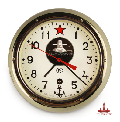 "Hours ship ""Commander""  Classic wall clock in the ship completely sealed die-cast steel housing, manufactured specifically for submarines and ships of the Russian Navy. Included with the clock comes with a special thumb key with which to open and watch them as the plant produced the clock spring pendulum mechanism. The high accuracy of the balance of the cavity is achieved by adjusting, if necessary, an additional lever, located at the top of the dial, under the metal welt opens the lid hours. Predominant feature of this watch is that the duration of the clock mechanism when fully wound the clock spring is 7 days. Design watch is made in the form of ship inspection porthole with germetizatsionnymi gaskets and locking glass lid. The watch case is covered with weather-resistant resin enamel with a range of variation of colors from gray to light beige ivory. Complete body tightness allows you to use the clock in any weather conditions at any fat content of impurities in the air atmosphere. For example, in the kitchen of a restaurant or cafe, industrial or office space."