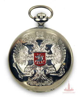 "Watches «Russian coat of arms""  Rare pocket watch with a reliable mechanism ""Lightning"" assembled 15 ruby ​​stones axle having high precision of moisture, shock and dust protection properties. Chrome body has bas-relief image of the Russian coat of arms with a central location of St. George. On the back of the watch holds the image of St. Basil's and Spasskaya tower with the application of enamel lettering ""golden-domed Moscow"". Silver dial in the arts and ornamental artistic performance in perfect harmony with white polished chrome-plated housing. The kit includes a special clock chain white nickel-plated, with reliable shotgun and a spring ring, easy to fix on the details of clothing."