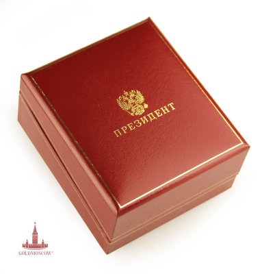"Gift boxes ""President""  The original gift box made specifically for pocket watches. Open the top cover of the box has a rigid axle spring a piano, allowing tightly closed box, securely locking the clock inside a special recess. The bottom and sides of the box hard, top, embossed in gold on which is depicted the Russian double-headed eagle with the inscription ""President"" pincushion has a thickened base, effectively emphasize presentable package. Inside the box is decorated with white silk. Removable tool tray clock, allowing the passport of the clock, as well as watch chain belt, conveniently located inside, allowing to issue gift Breguet in a stylish and expensive framing. Box size 100h120h60 mm."