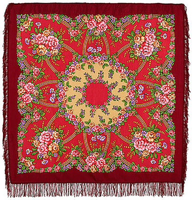 "Pavsloposadskaya shawl ""The Return""  A handsome, richly saturated pavloposadskie classic scarf red-burgundy color. Material 100% wool with a very soft and pleasant surface feel. Edge handkerchief processed dense fringe of red color. Great festive mood decoration handkerchief achieved harmonious combination of red and golden hues in the compilation with pink gold and blue colors. Simple and yet gentle enough ornament perfectly frames the entire floral arrangement on a background of red fringe beautiful Russian shawl. The author of the drawing is a wonderful artist pavloposadskie Litvinova Elena. Size headscarf 125x125 cm."