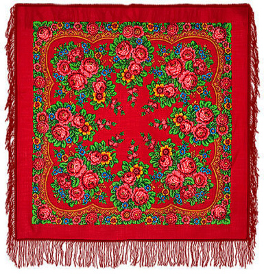 "Pavloposadskie handkerchief ""Matryoshka""  Great Russian classic festive bright red scarf. Material 100% pure wool. Manufacturing pavloposadskie garter factory. Lush flower in gentle golden ornament make this wonderful scarf female attire. Border warm and beautiful soft woolen shawl fringed processed red bright color. Author Irina Dadonova figure. Give yourself a great mood with this wonderful handkerchief."