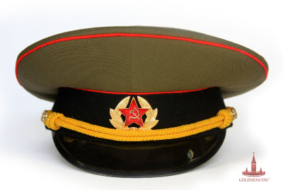 Cap soldier combined arms  Combined Military cap summer dress uniform of the armed forces of the USSR. A great gift option for collectors of military uniforms. History has cap during more than two centuries, it was then, the soldiers of the Russian army - foragers had a headdress with color edging, gave the name of his cap. The sight of her was very different from now adopted, but two hundred years ago, when the Russian army liberated Europe from Napoleon, modified cap this style became popular in many countries and armies of Europe. At the beginning of the First World War in the Russian army cap with lacquered steel canopies made not only for the officers but for ordinary personnel.