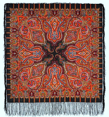 "Pavloposadskie handkerchief ""Saffron""  The magnificent sample of a complex mosaic decoration woolen shawl pavloposadskie small size 89h89 cm. Exquisitely decorated fringe shawl very harmoniously emphasizes the saturation of graphically rich ornamental floral pattern. Classic black border conveys the mood of a rich decoration and luxurious design handkerchief in ancient mosaic style. The presence of multicolor palette of shades to convey the impression elegant and sophisticated dress Russian beauty. Author picture magnificent artist pavloposadskie manufacture Elena Zhukova. The edge of the shawl with a fine and delicate silk fringe black."