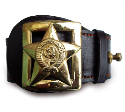 "Belt ""general's""   Leather waist belt of pressed perforated brass buckle with the image of the golden stars and the emblem sovets Union. Long double leather cloth, stitched with silk thread is 120 cm. The size of the buckle 55h60 mm."