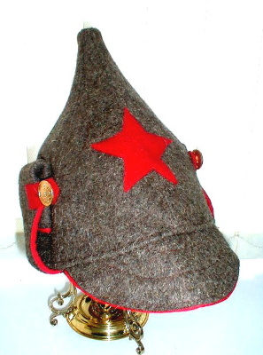 "Hat ""Budenovka Infantry""  The headpiece is a sample of the first revolutionary years of the beginning of XX century and the first Red Army units under the command of Mikhail Frunze. The red star on the front of Budenovka was initially determined specifically for these parts. Sometimes it is called ""Frunzevka»."
