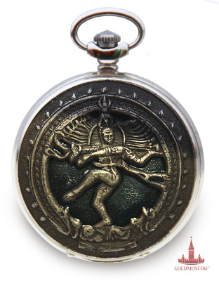 "Pocket watch ""Shiva""  It is very rare pocket watch with the image of the Hindu god Shiva. High decoration of the watch, including how to open the cover and the back part of the case put this model of pocket watches of the most valuable, from an artistic point of view, vintage timepieces. Shiva, the most revered god in India, and so it is believed that this is the most extraordinary of all God, which are intertwined austerity and sensuality in a variety of manifestations. He is a the force that can create and destroy, and to give charity or be cruel. The image of Shiva - Lord of the universe, creating worlds through dance - attractive and beautiful. No wonder that the dancing Shiva became the favorite picture of Indian architects. In his appearance joined philosophy, religion and art. Pocket watch ""Shiva"" vypushena limited edition and is undoubtedly of interest to collectors of rare watches. Included with the pocket watch attached belt-plated watch-chain, factory warranty passport and factory carton. If desired, a clock can further be accompanied by a beautiful gift box made specifically for pocket watches. The cost of a box of 320 rubles. About this addition to the hours you need to write in the comments when ordering."